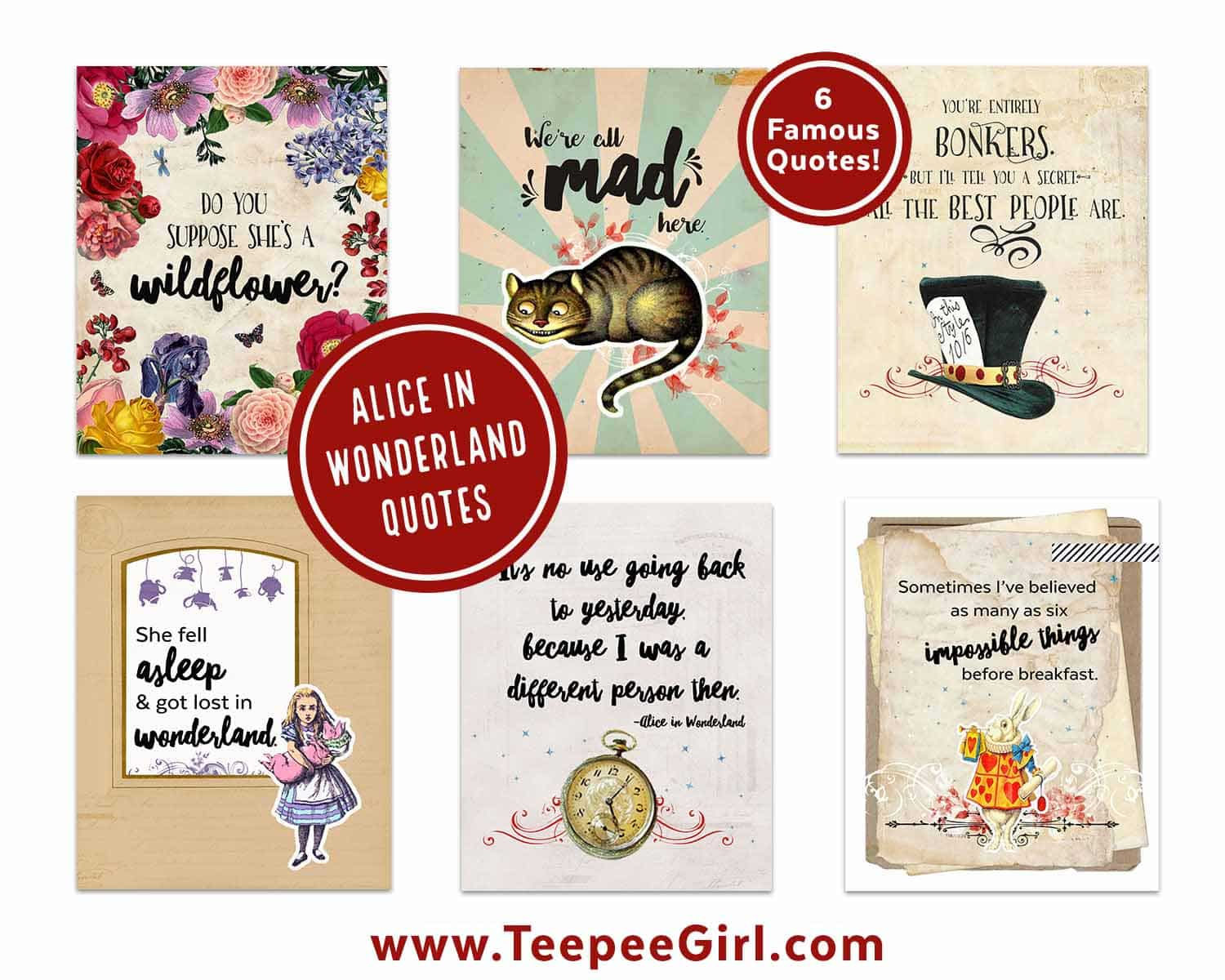 image relating to Alice in Wonderland Printable identified as Alice In just Wonderland Printables - Teepee Female