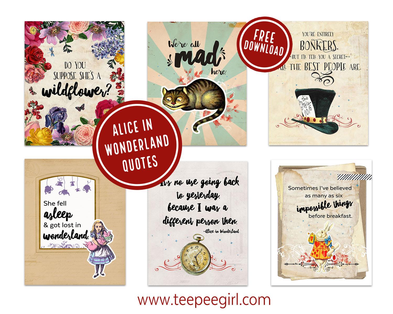 Alice In Wonderland Printables Teepee Girl