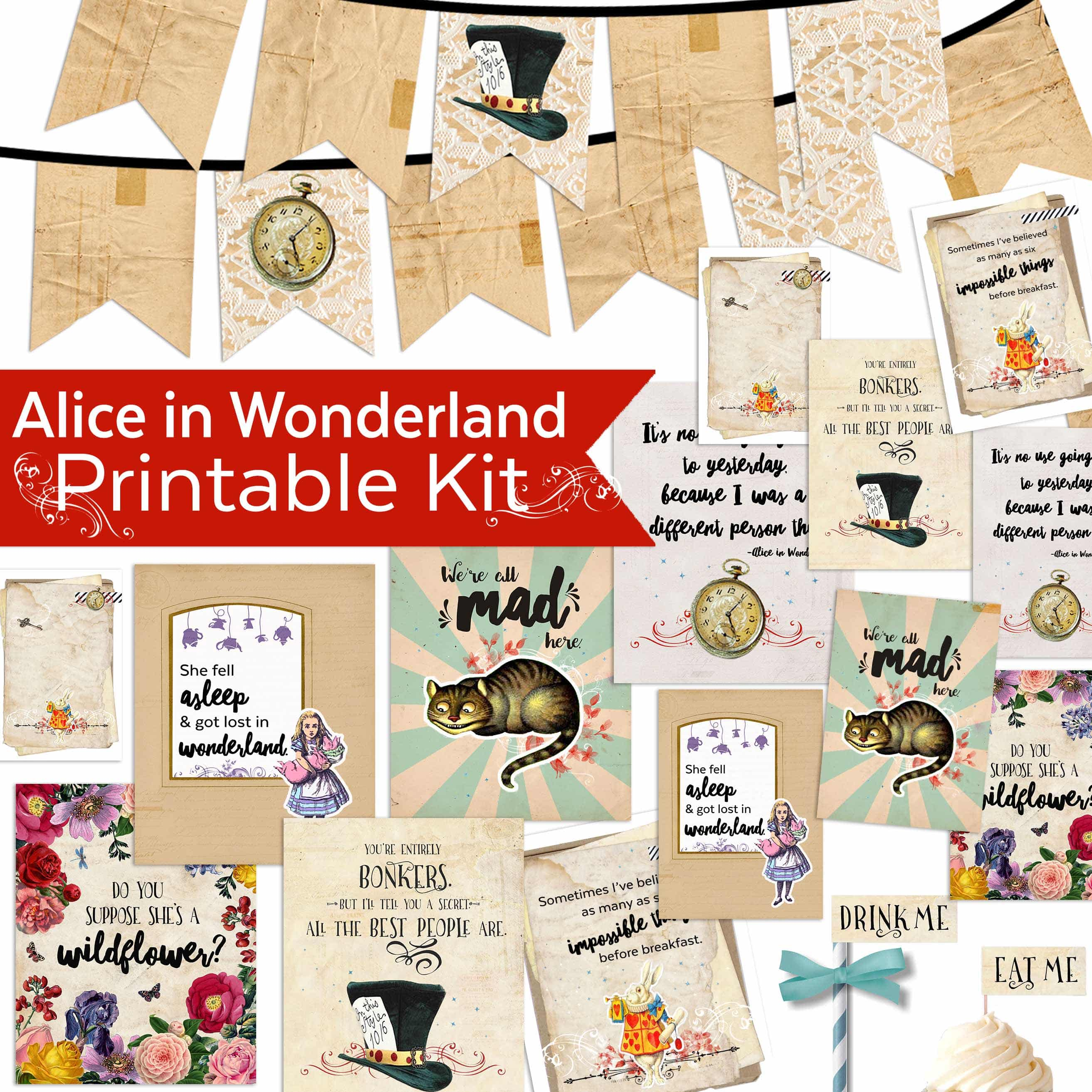 photograph relating to Alice in Wonderland Printable identify Alice Within just Wonderland Printables - Teepee Lady