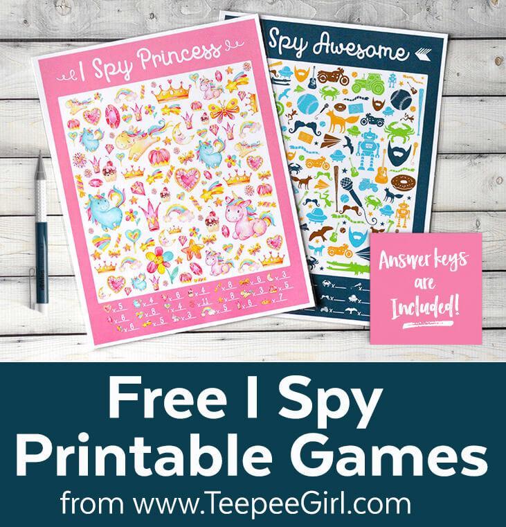 Free I Spy Princess and I Spy Awesome printable games from www.TeepeeGirl.com.