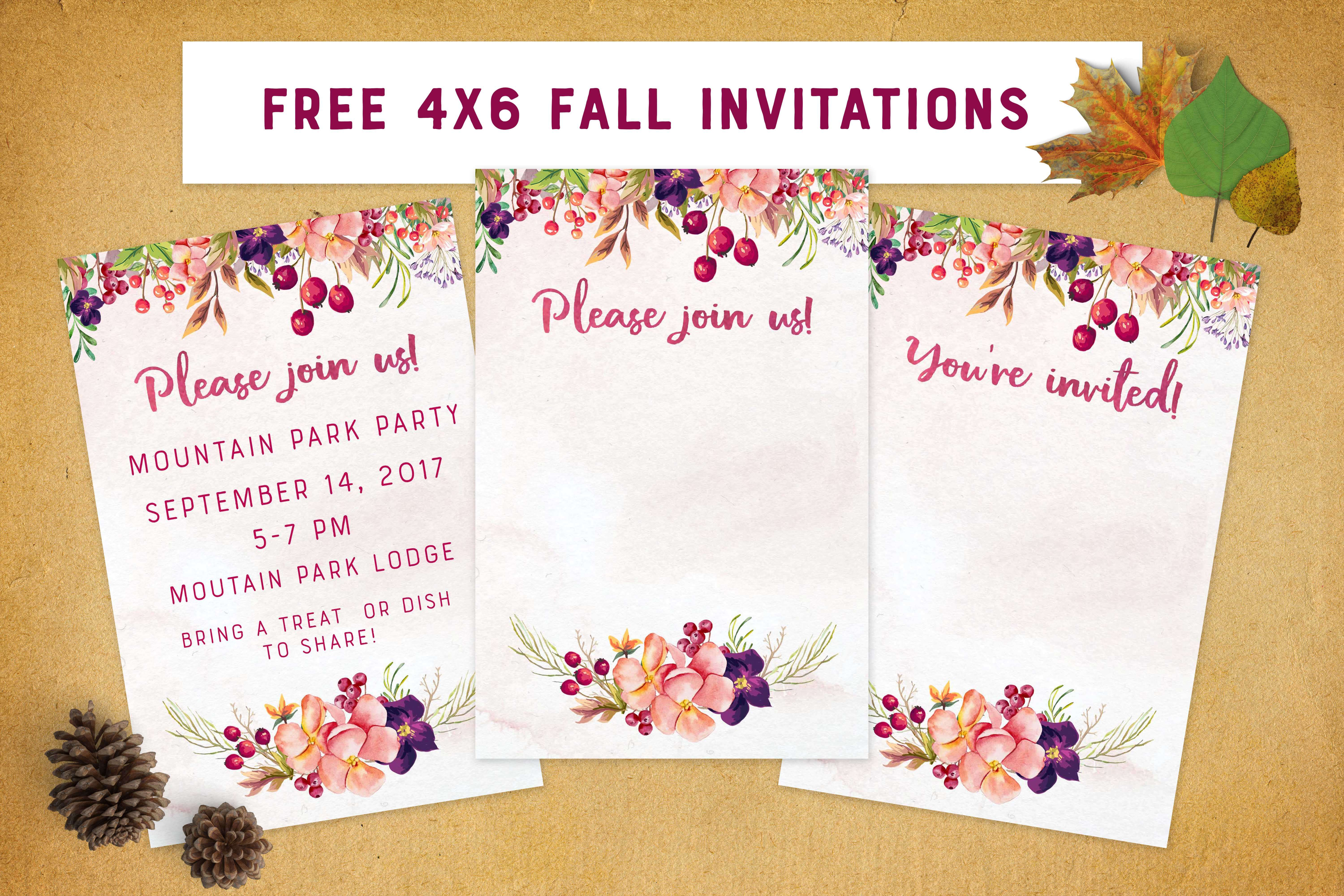 image relating to Free Printable Fall Party Invitations identified as No cost Drop Invites 4x6 Blank Invites