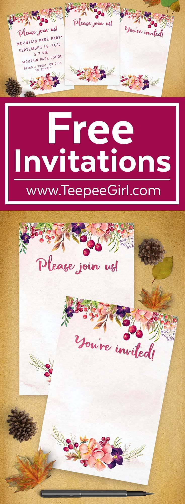 picture relating to Free Printable Fall Party Invitations identify Free of charge Drop Invites 4x6 Blank Invites
