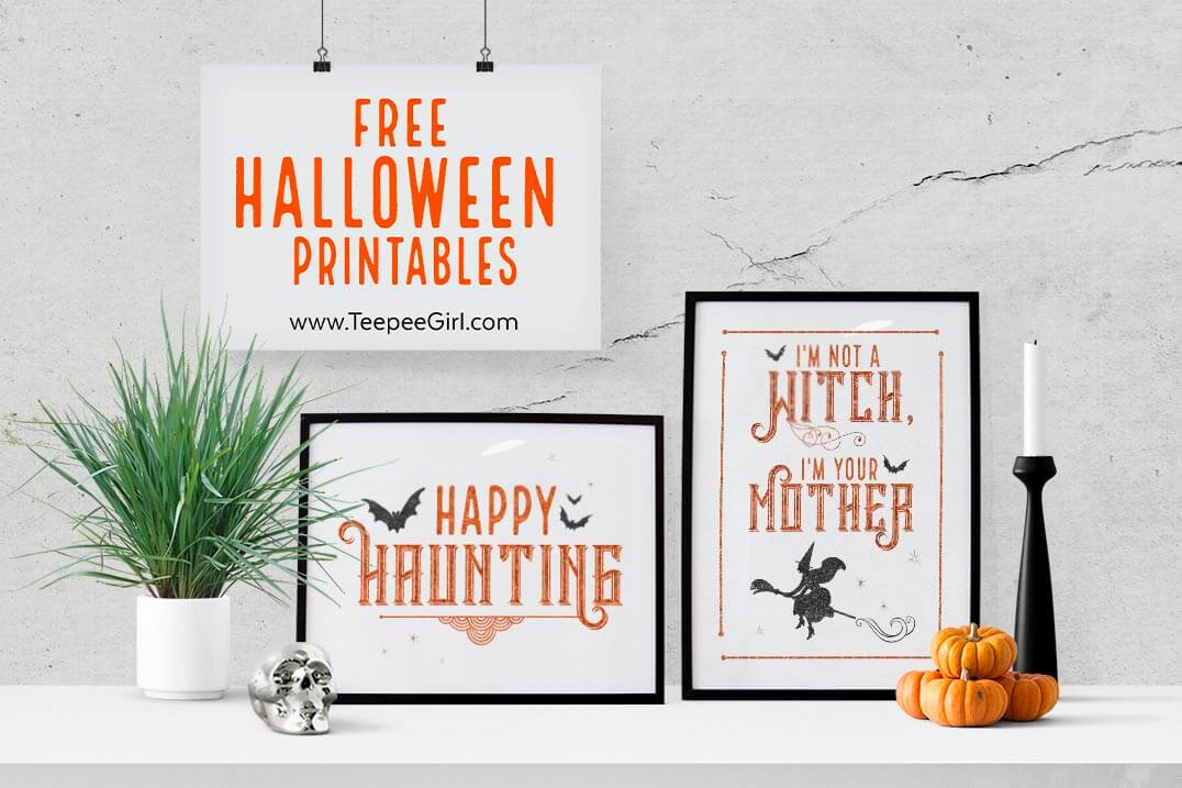 These free Halloween printables are the perfect way to decorate your space for Halloween! They come in two sizes (8x10 & 4x6) and are beautiful in a frame or just hanging up on the fridge. www.TeepeeGirl.com