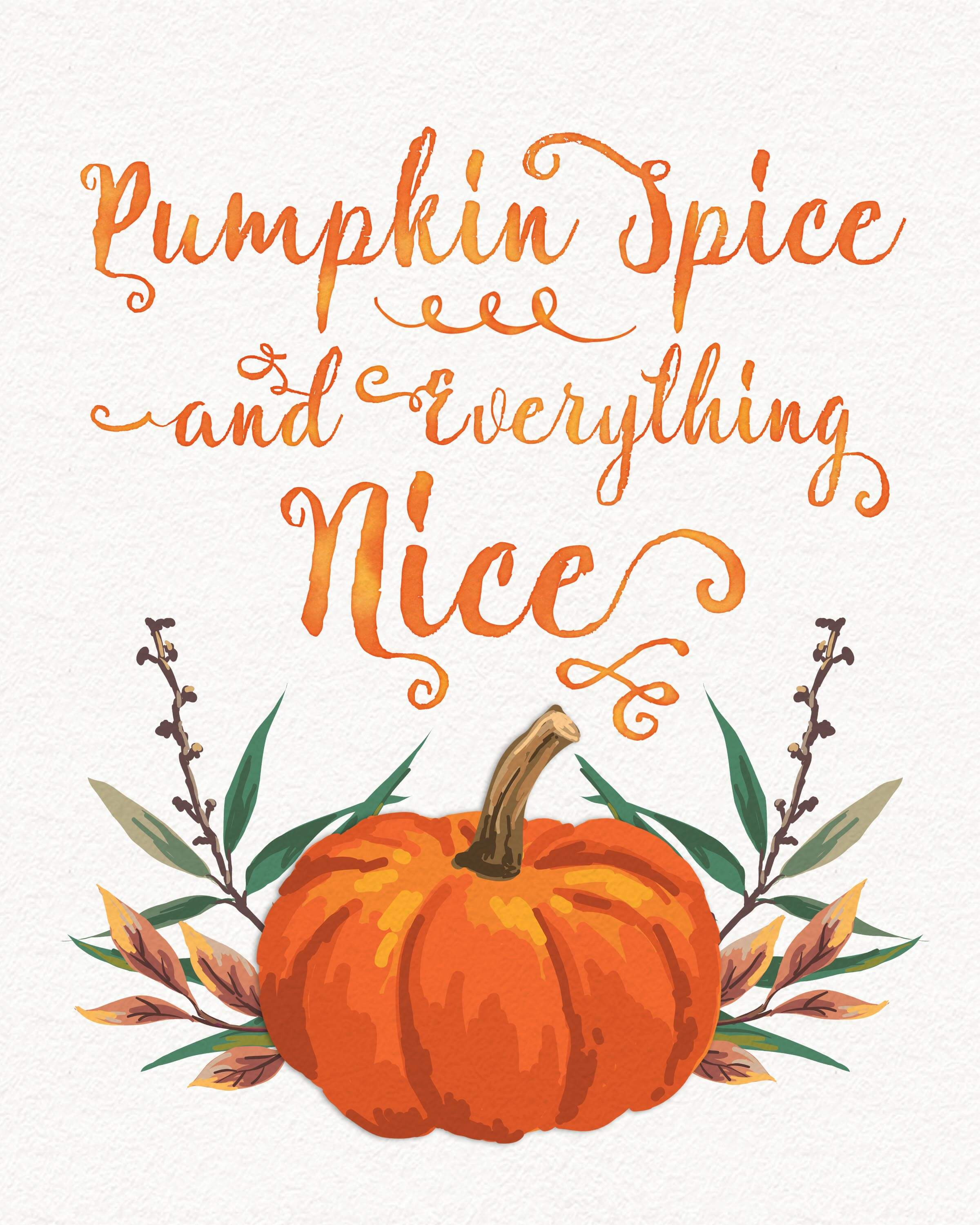 Free Fall Watercolor Printables. These beautiful free printables come in two sizes (8x0 & 5x7) and will make sure your home or office is ready for Fall! www.TeepeeGirl.com