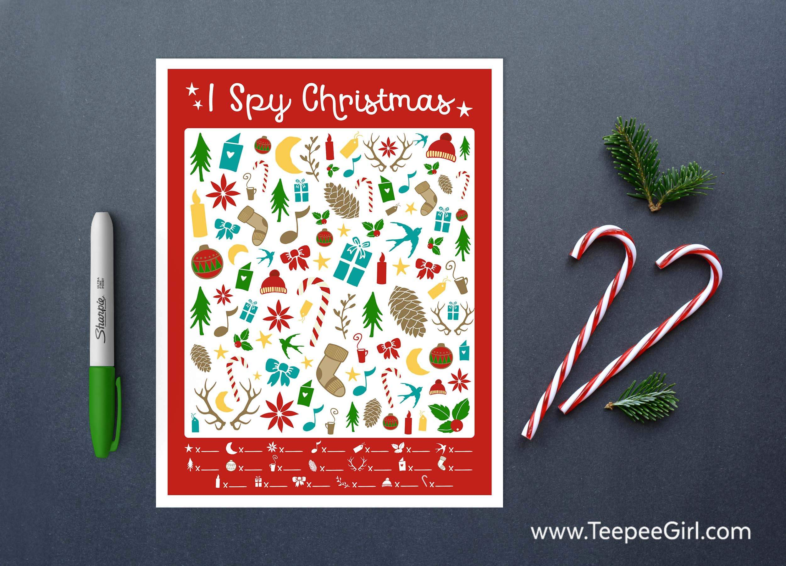 Free I Spy Christmas Printable Game - Teepee Girl