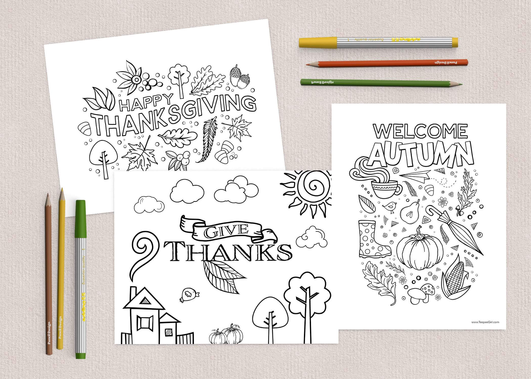 Free Thanksgiving Coloring Pages | www.TeepeeGirl.com