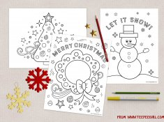 Free Christmas Coloring Pages! Use for school, church, preschool, and playdate activity for kids! www.TeepeeGirl.com
