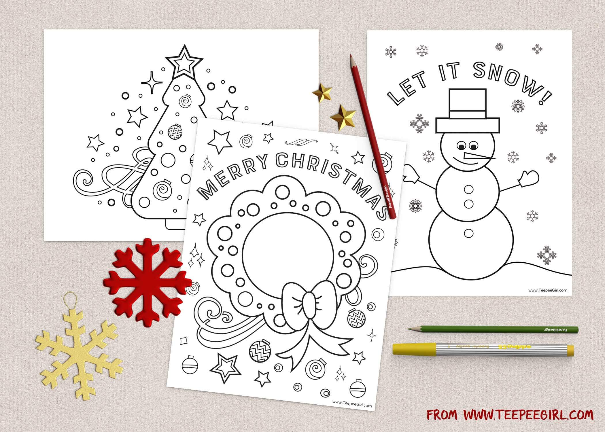 Free Christmas Coloring Pages Www Teepeegirl Com