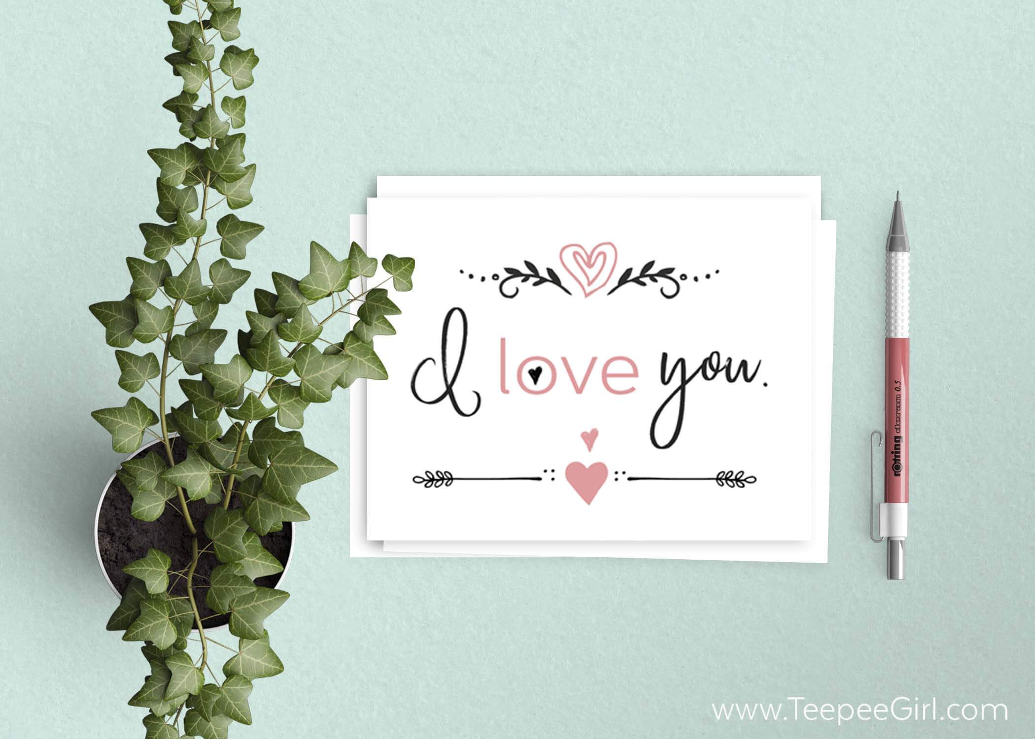 photo relating to I Love You Printable Cards titled Cost-free I Take pleasure in On your own Playing cards Cost-free Valentines Working day Printable