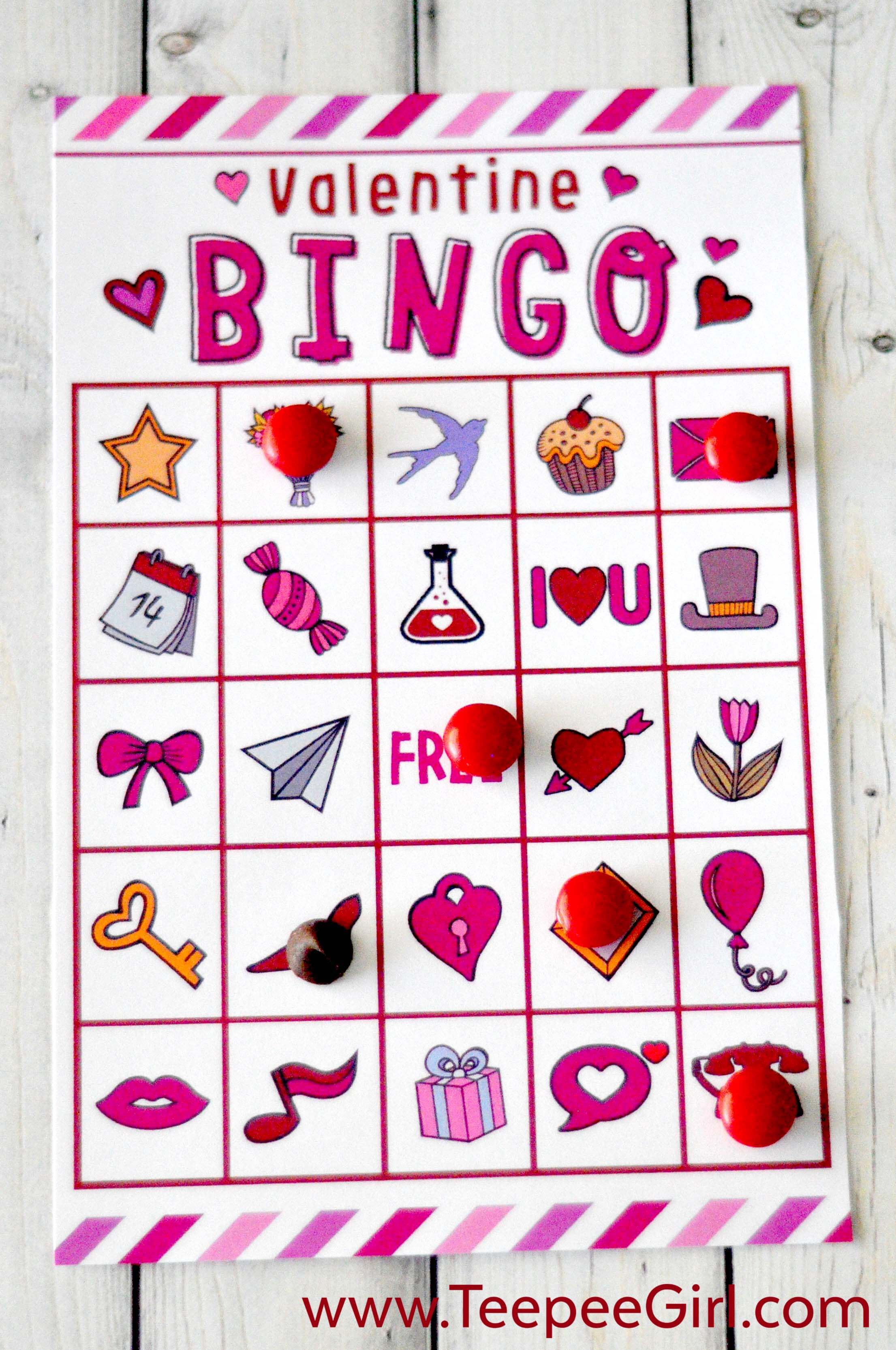 photo relating to Printable Kid Valentines identified as No cost Valentines Working day Printable Bingo Recreation