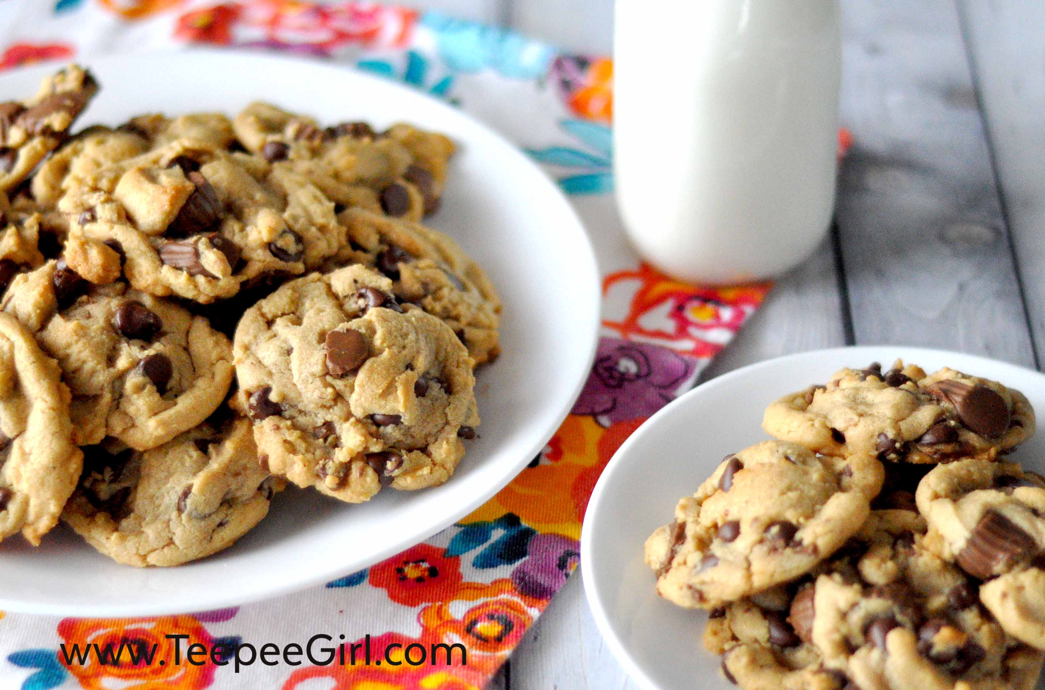 These Peanut Butter Cup Cookies are amazing! They are easy and come together quickly and taste fantastic!! Get the recipe today at www.TeepeeGirl.com.