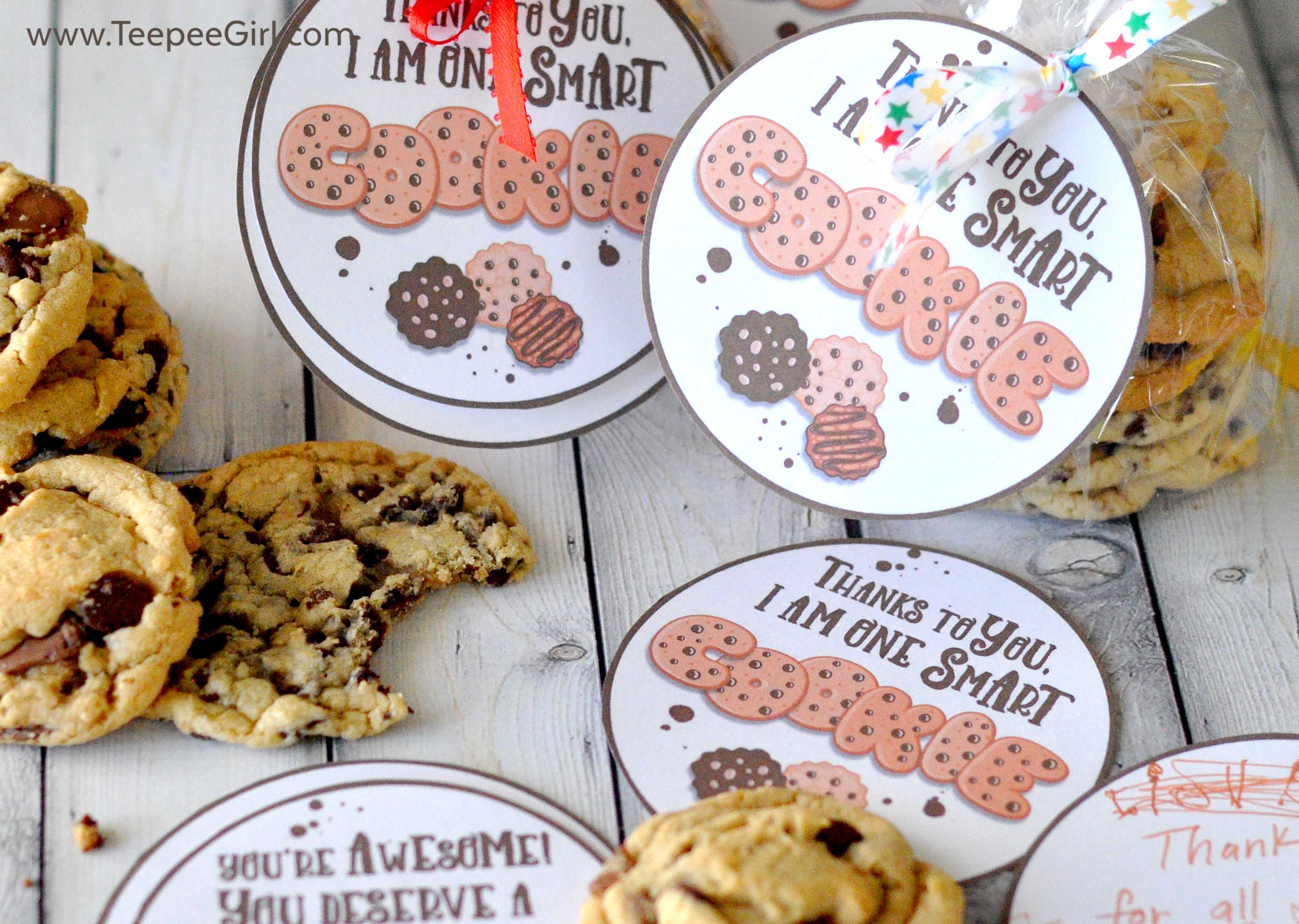 photo about You're One Smart Cookie Printable referred to as Cookie Instructor Appreciation Present Tags versus