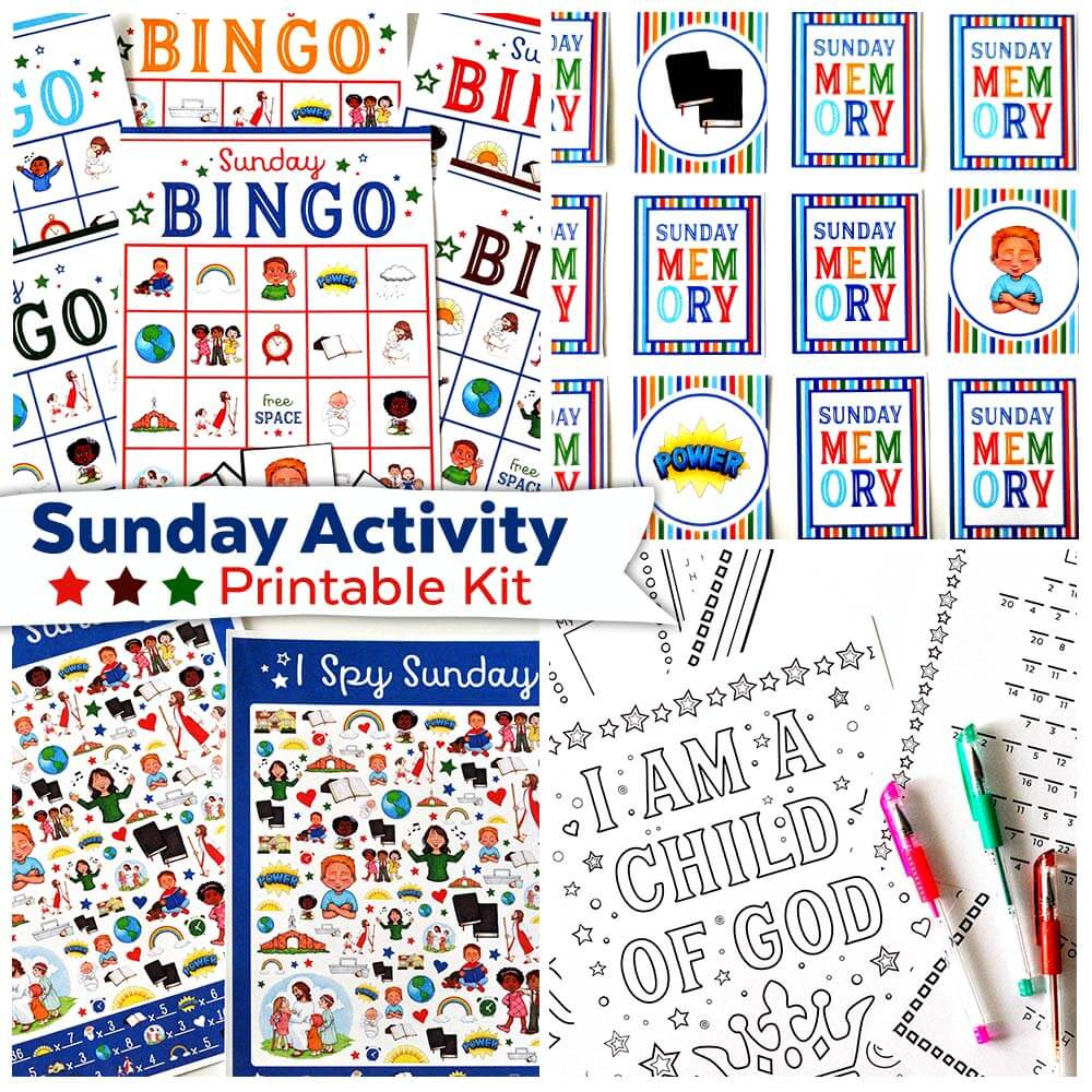 This Sunday Activity Printable Kit is perfect for Church, Sunday School, Primary, Activity Days, or Sunday afternoons at home!