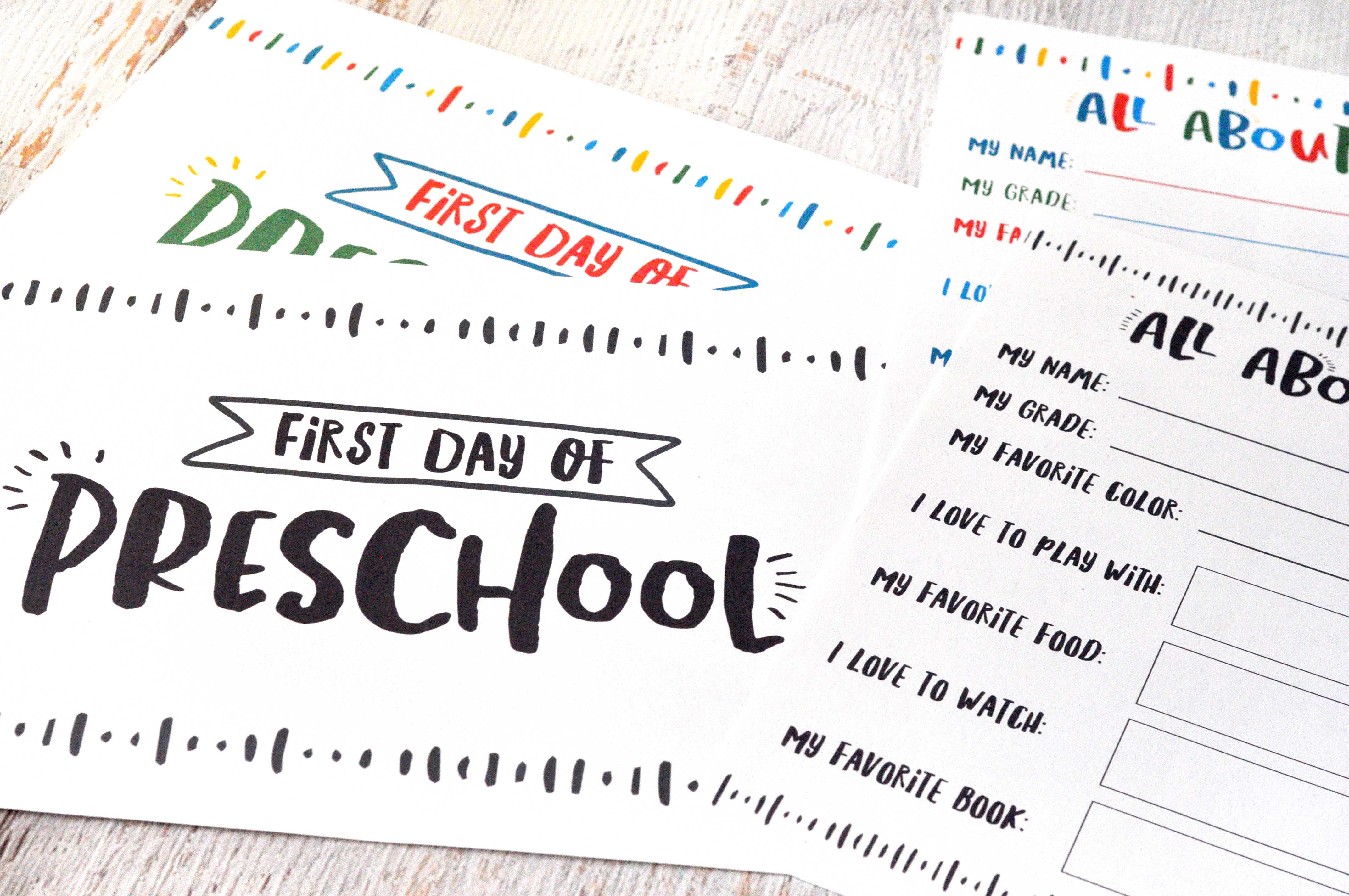 """These free printables are perfect for the first day of school! Let the kids hold the first day of school signs so you can take pictures & remember exactly what they looked like on their first day of the school year. Plus, there's an """"All About Me"""" printable so they can record all their favorite things and what they loved on the first day of school. Get it today at www.TeepeeGIrl.com!"""
