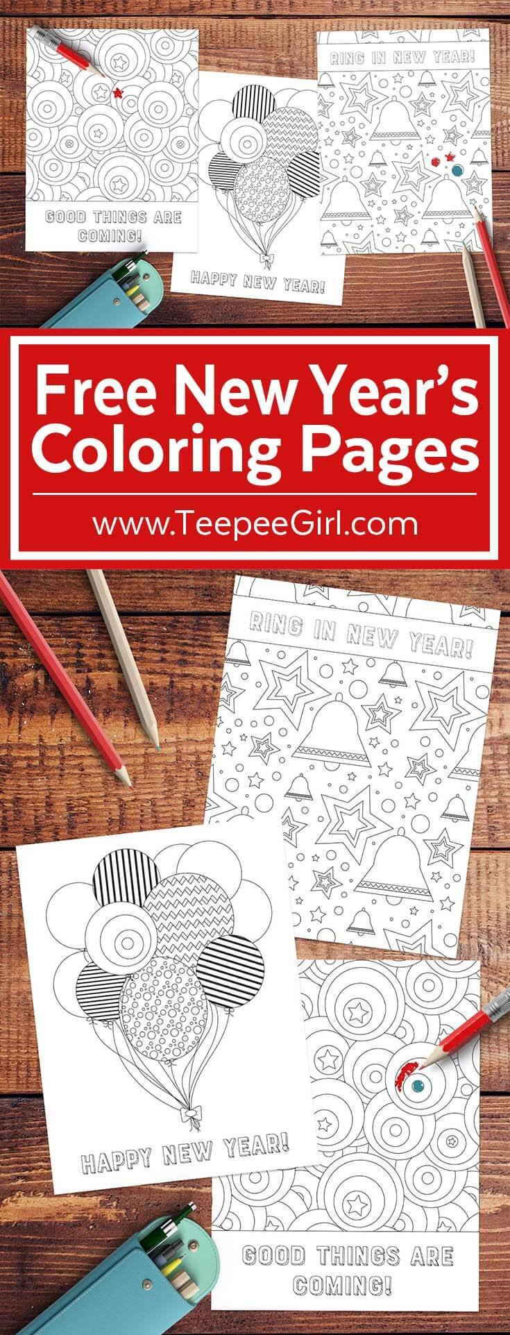 Free New Year Coloring Pages | www.TeepeeGirl.com