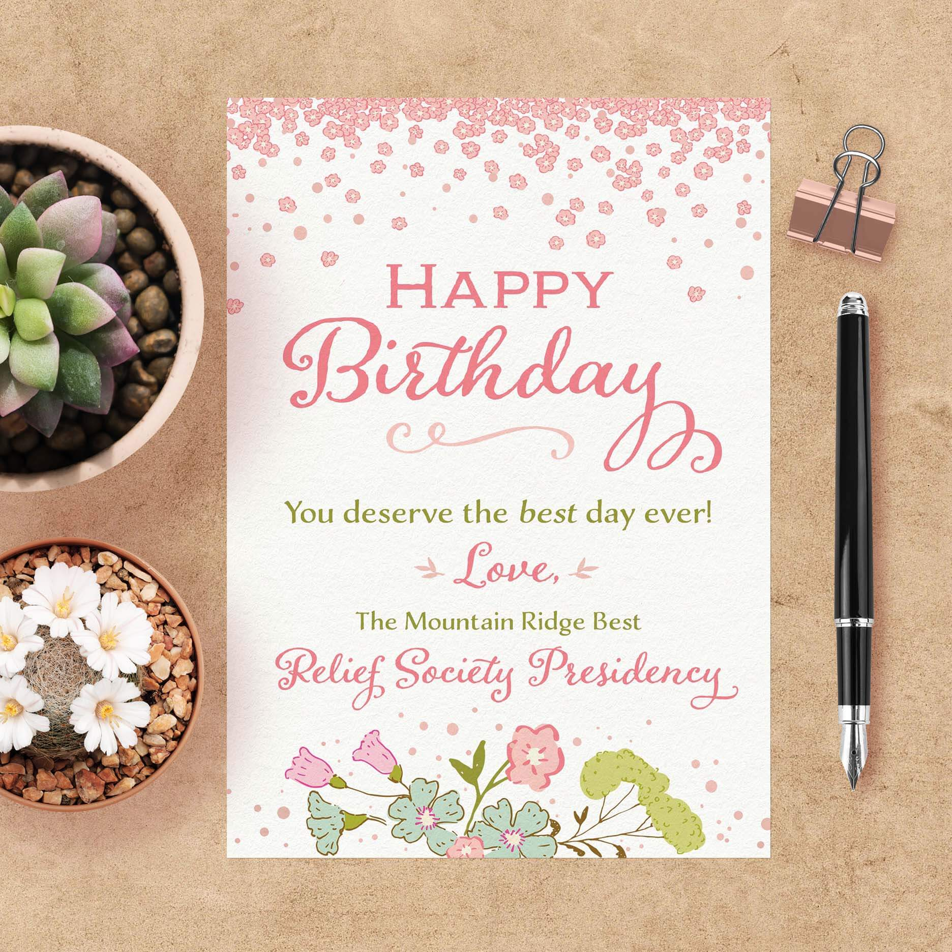 Custom Birthday Card For LDS Relief Society