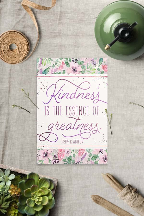 Free LDS Ministering Printable: Kindness - Teepee Girl