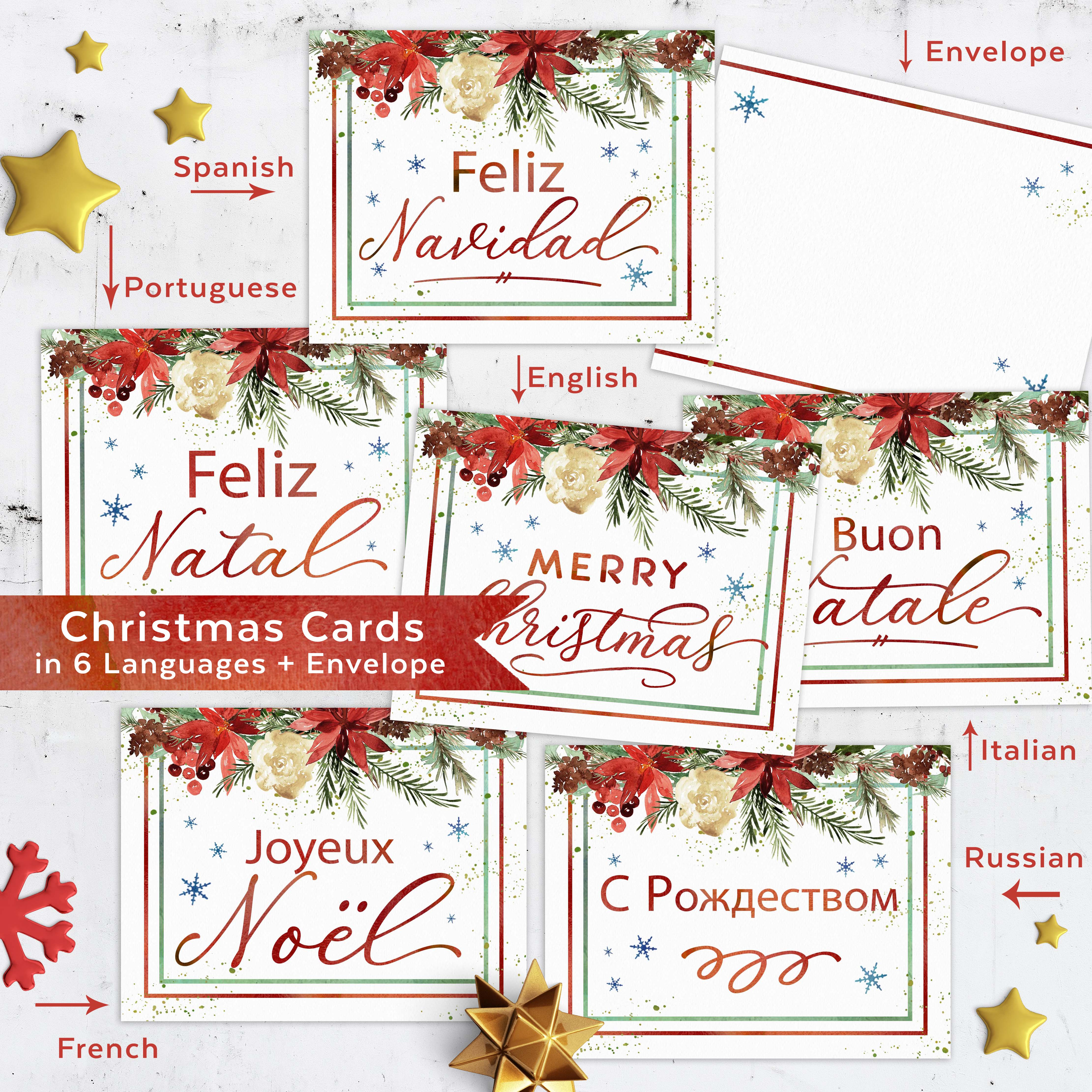 picture about Christmas Envelopes Free Printable named Totally free Xmas Playing cards inside of 6 Languages English, Spanish